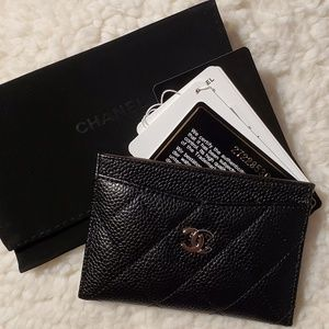 CHANEL Black Caviar Card Case w/box!